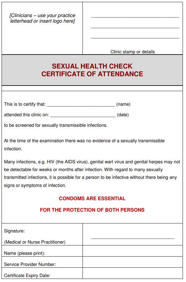 Sexual Health Check Certificate Respect Qld